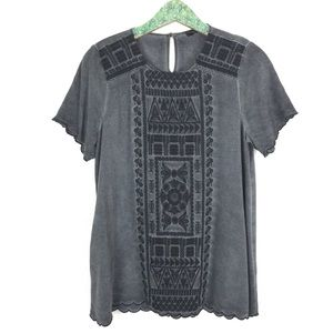 Andree By Unit Embroidered Top Medium Gray Rayon